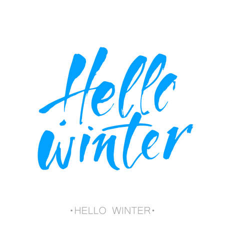 Hello winter text. Brush lettering.  card design with custom calligraphy Hello winter text. Card or design template with  typography template.