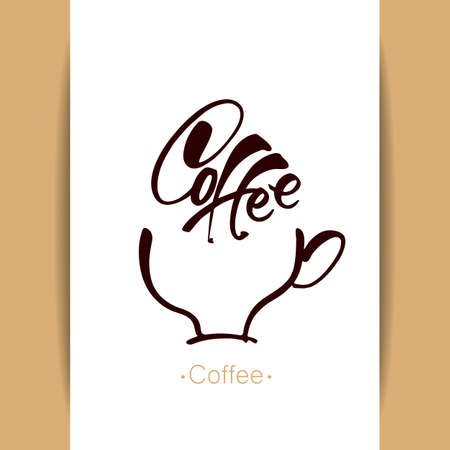 hot cup: COFFEE . coffee cup with inscription on white background. Idea for design. Hot drinks mug concept. illustration.