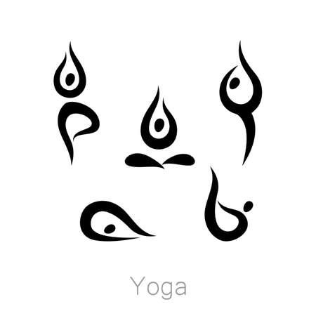 spiritual energy: Set with various poses of yoga. Yoga exercises.  Design for Yoga class, yoga center, yoga studio, yoga . set of yoga illustration. Illustration