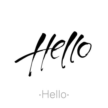 Hello lettering. Black Calligraphy Inscription. Illustration - for greeting card.