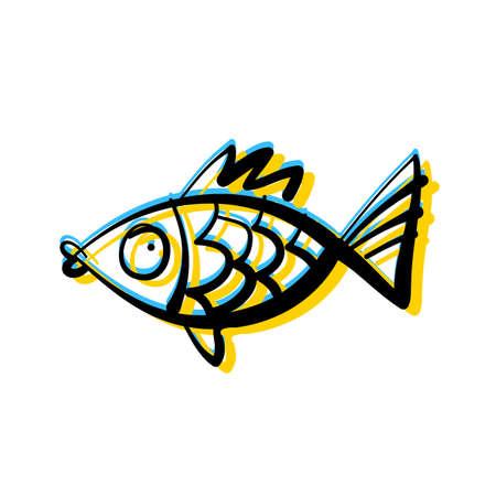 Cute fish. Aquarium fish isolated on white background. Vector illustration. Illustration