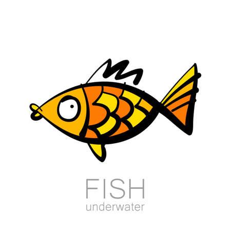 dessin au trait: modèle de poisson mignon. Modèle de création de magasin de pêche du club de pêche. Vector illustration.