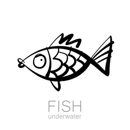 underwater fishes: Cute fish underwater. Fish isolated on white background. Vector illustration.