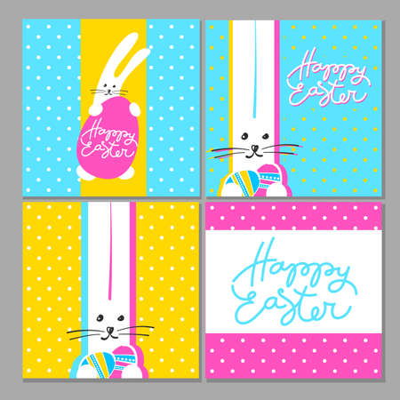 hand print: Happy Easter greeting cards. Easter design with rabbit  and hand written lettering.  Vector design templates. Illustration