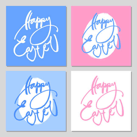 idea: Hand drawn modern brush lettering of Happy Easter. Greeting card text templates. Vector illustration.