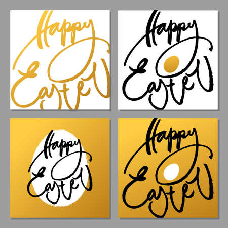happy holidays: Happy Easter collection. Hand drawn modern brush lettering. Vector illustration.