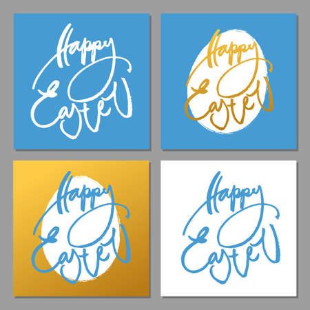holiday background: Happy Easter. Hand written Easter phrases .Greeting card text templates with modern Happy Easter lettering. Vector illustration.