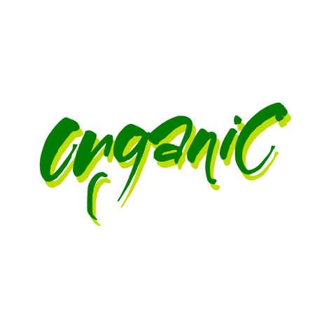 Organic. Vector design template. Modern brush calligraphy. lettering for stamp, badge, label. Illustration
