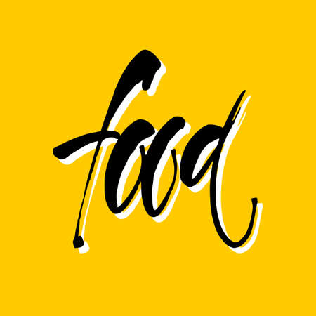 Food. Hand Drawn Calligraphic. Lettering design for  stamp, badge, label. Vector illustration template.