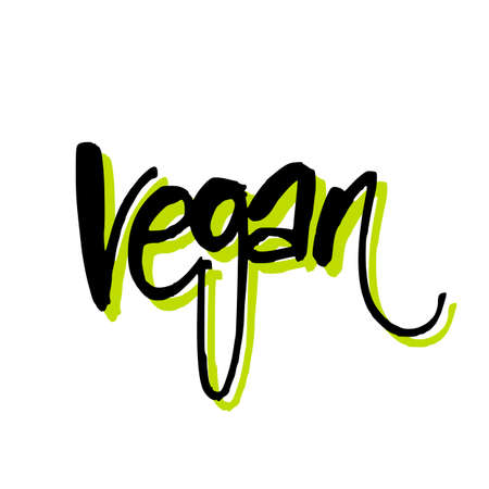 food: Vegan. Hand lettering. Design for  stamp, badge, label.