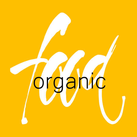 hand print: Organic food. Hand Drawn Calligraphic. Lettering design for  stamp, badge, label. Vector illustration template.