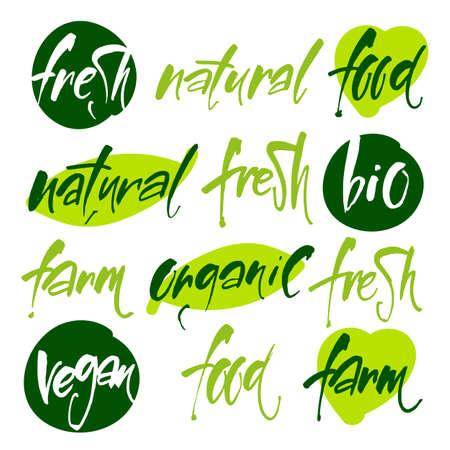hand print: Vector illustration food design. Vegan menu. Bio, Ecology, Organic and icons, labels, tags. Illustration
