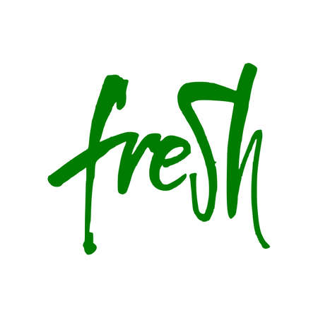 letter: Fresh. Hand lettering. Handmade vector calligraphy. Design for  stamp, badge, label.