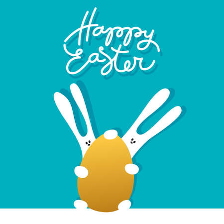 Easter greeting card template with rabbits and golden egg. Holiday background for design card, banner,ticket, poster and so on. Illustration