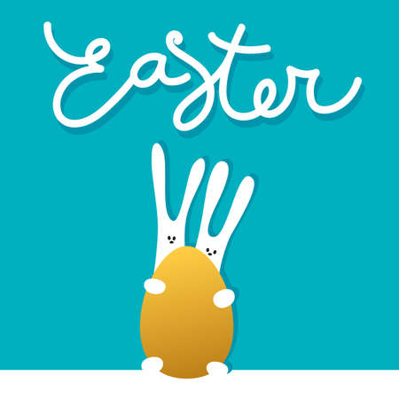 holiday background: Easter greeting card template with rabbits and golden egg. Holiday background for design card, banner,ticket, poster and so on. Illustration