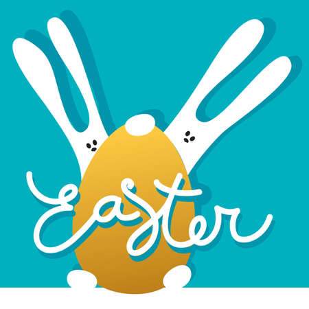 golden: Easter greeting card template with rabbits and golden egg. Holiday background for design card, banner,ticket, poster and so on. Illustration