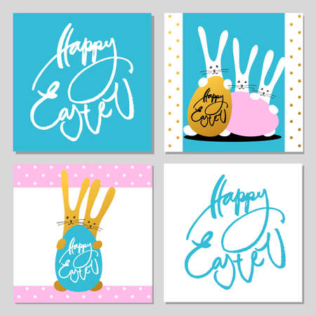lapin: Happy Easter set. Greeting cards with rabbits, bunnies, eggs and text. Hand written Happy easter lettering modern calligraphy style. Vector illustration
