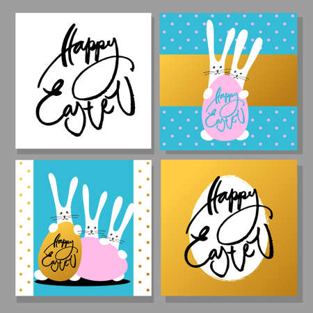 happy holidays: Happy Easter greeting cards collection. Design templates with rabbit, bunny, egg and hand drawn text. Vector illustration