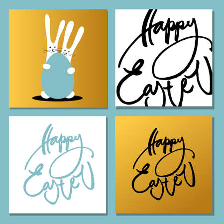 hand print: Happy Easter set. Greeting cards with rabbits, bunnies, eggs and text. Hand written Happy easter lettering modern calligraphy style. Vector illustration