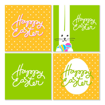 idea: Happy Easter greeting cards. Easter design with rabbit  and hand written lettering.  Vector design templates. Illustration
