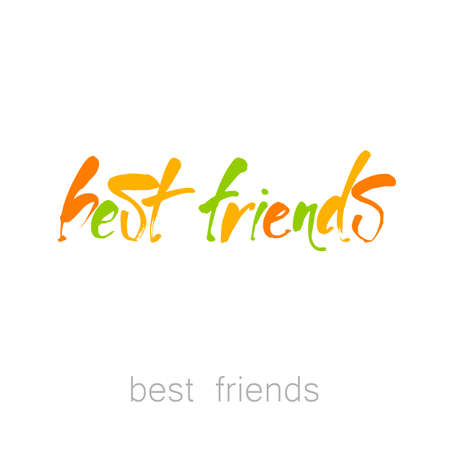 hand print: Best friends. Friendship. Hand drawn lettering. Inspirational quote. Design for greeting cards, posters, t-shirts, postcards.  Vector illustration.