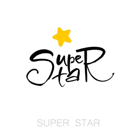 superstar: Super star card. Modern brush calligraphy. Isolated on white background.  Vector illustration. Design idea for invitation and greeting card, t-shirt, prints and posters. Illustration