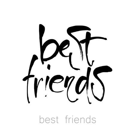 decoration: Best friends. Hand drawn lettering.  Design idea for greeting cards, posters, t-shirts,  postcards.  Vector typographic. Illustration