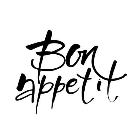 Calligraphie vectorielle faite à la main. Bon appétit. Illustration vectorielle.