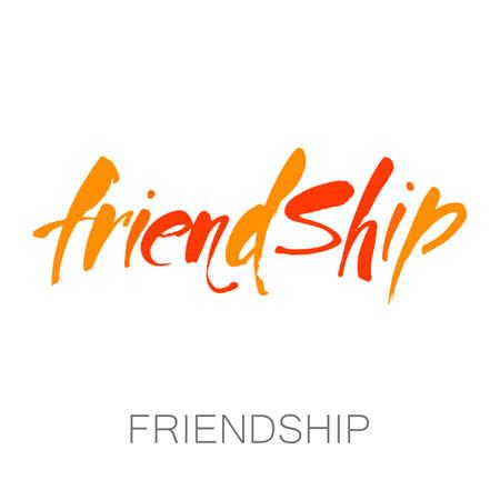 Conception typographique de vecteur de l'amitié. Lettres dessinées à la main pour cartes de voeux, affiches, vêtements, t-shirt. Banque d'images - 84796680