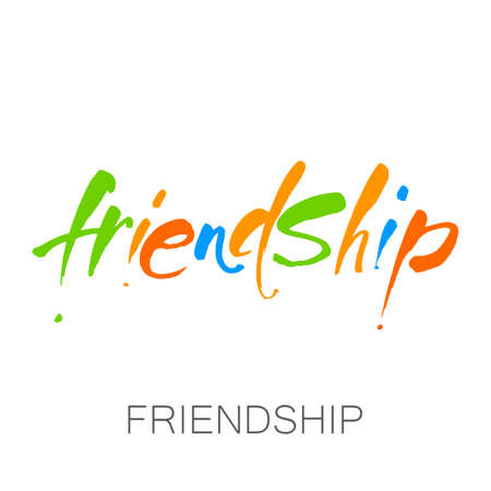 Friendship vector typographic design. Hand-drawn lettering for  greeting cards, posters, clothing, t-shirt.