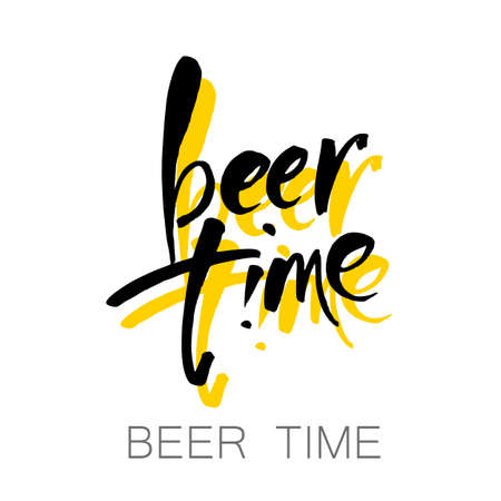 Beer  time concept design background. Hand-lettering typographic poster. Vector illustration. Design template for Oktoberfest advertising, posters, t-shirts design, flyers etc Illustration