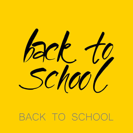 board: Text back to school - hand drawn lettering with chalk on blackboard. Vector illustration. Illustration