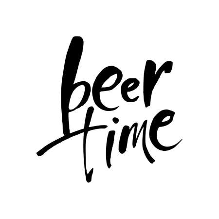 BEER TIME. Hand-written text on background. Could be used for Oktoberfest advertising, posters, t-shirts design, flyers etc. Vector illustration.