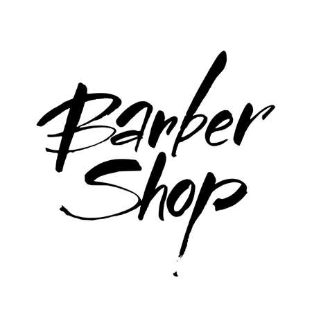 Barbershop. Barber shop hand written lettering logo, badge, label. Design template. Vector illustration. Illustration