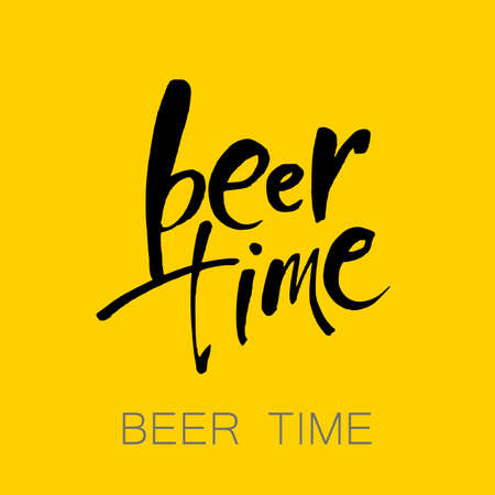 Beer  time concept design background. Vector illustration. Hand-lettering typographic poster. Illustration