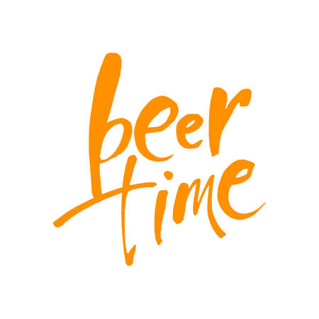 Beer Time. Time to Drink lettering. Vector illustration for web, poster, invitation to party.