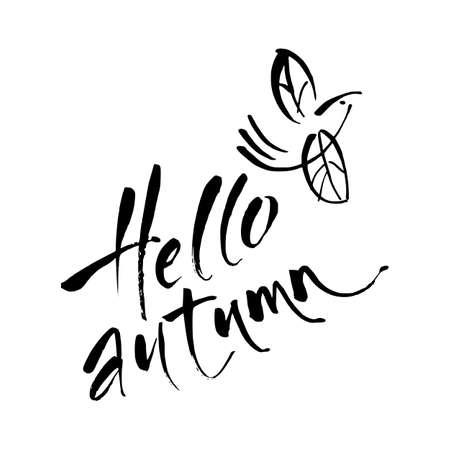 Hello autumn.   Vector hand written lettering quote. Modern calligraphy phrase. Ilustrace