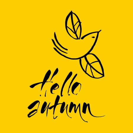 Hello autumn. Hand drawn season inspiration quote. Vector illustration.