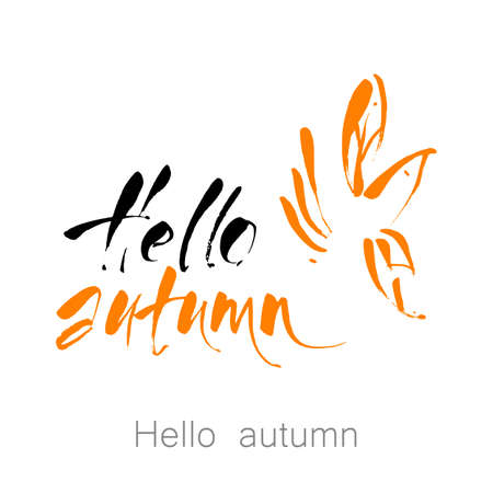 Hello autumn hand written lettering quote.