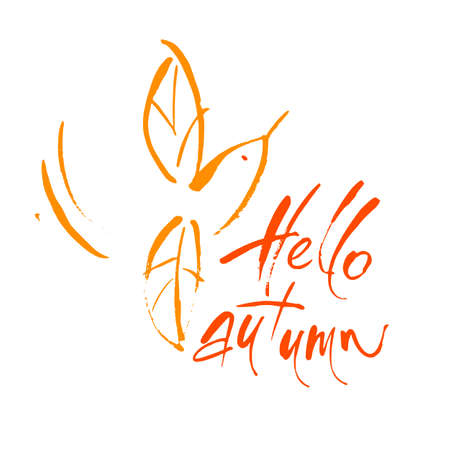 Hello autumn hand drawn lettering template. Illustration