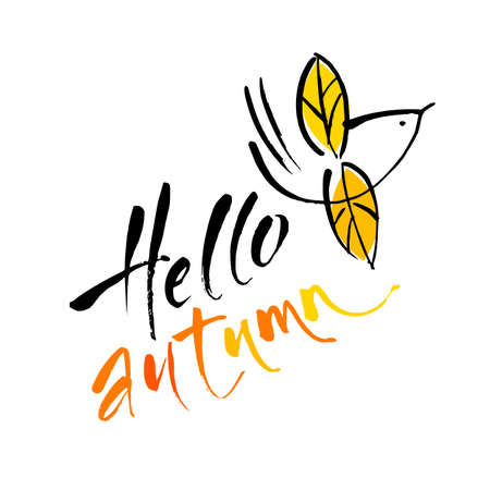 HELLO AUTUMN hand drawn lettering template.