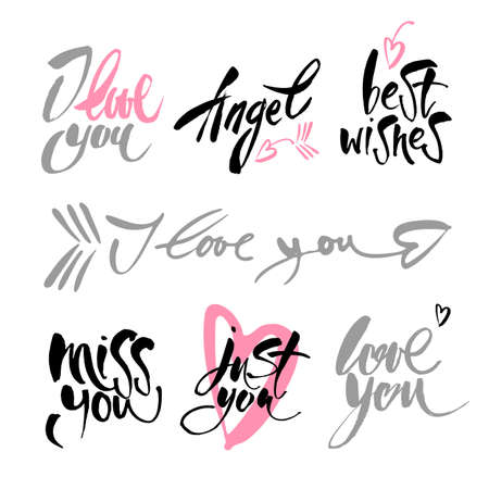 happy valentines day quotes hand drawing vector lettering design