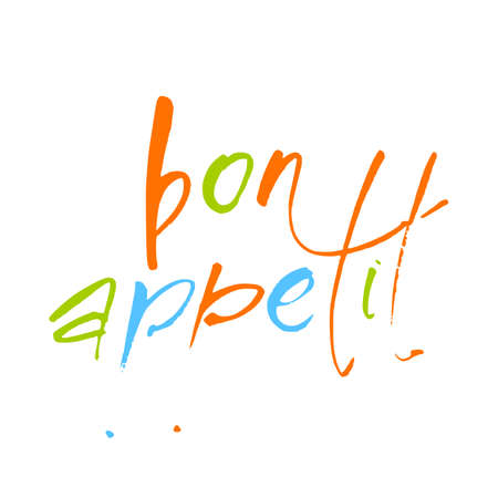 Bon Appetit lettering. Food calligraphic text. Vector illustration.