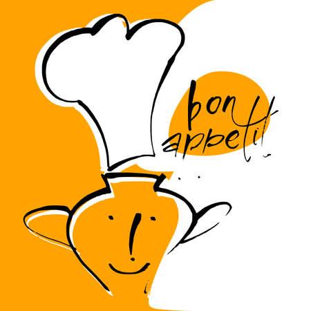 Bon appetit. Restaurant menu template. Vector illustration.  イラスト・ベクター素材