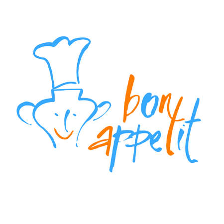 Bon appetit graphic. Vector template. Illustration