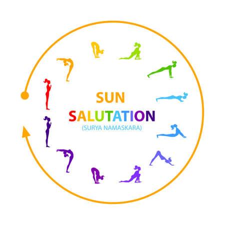 Hatha Yoga. Surya Namaskar. Yoga poses set in a circle Vector illustration.