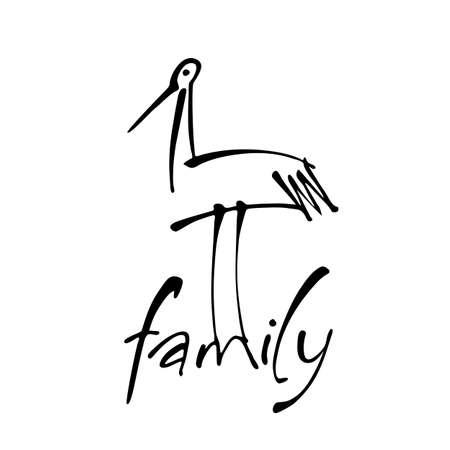 Inscripción con una cigüeña. Plantilla de logotipo para hospital de maternidad, organización social, jardín de infantes, hogar de niños, centro de apoyo para padres con hijos. Ilustración de vector.
