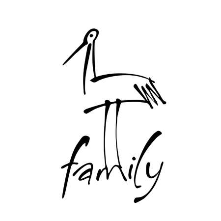 Inscription with a stork. Logo template for maternity hospital, social organization, kindergarten, children's home, support center for parents with children. Vector illustration.