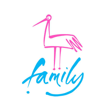 Inscription with a stork - a symbol of family happiness and love. Modern handwritten lettering.