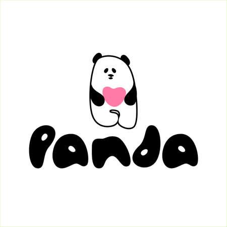 Panda bear with heart. Logotype concept icon. Vector illustration. Standard-Bild - 120840284